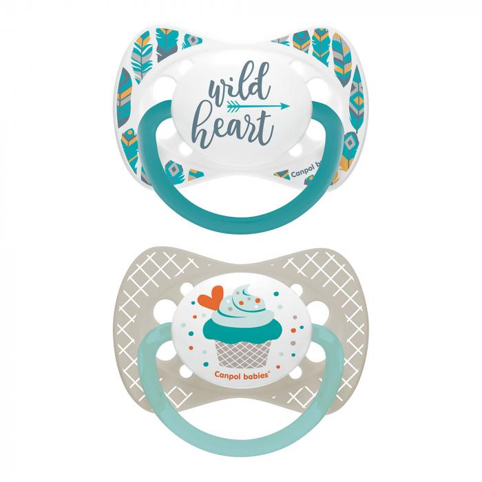 "Set 2 suzete ""Wild Nature + Cupcake"" cu tetina simetrica silicon, Canpol babies®, fara BPA, 18 luni+, gri 0"