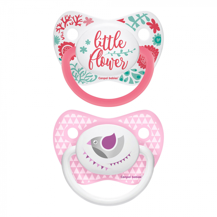 "Set 2 suzete ""Wild Nature + Let's Celebrate"" cu tetina ortodontica silicon, Canpol babies®, fara BPA, 0-6 luni, roz 0"