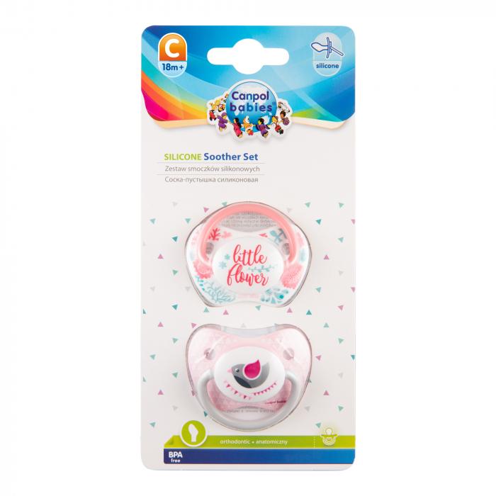 "Set 2 suzete ""Wild Nature + Let's Celebrate"" cu tetina ortodontica silicon, Canpol babies®, fara BPA, 18 luni+, roz 1"