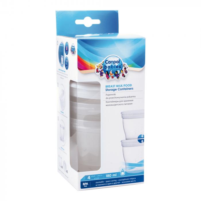 Set 4 recipiente pentru stocarea laptelui matern sau a hranei, Canpol babies®, sistem de inchidere etans, fara BPA 1