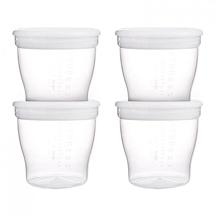 Set 4 recipiente pentru stocarea laptelui matern sau a hranei, Canpol babies®, sistem de inchidere etans, fara BPA 0