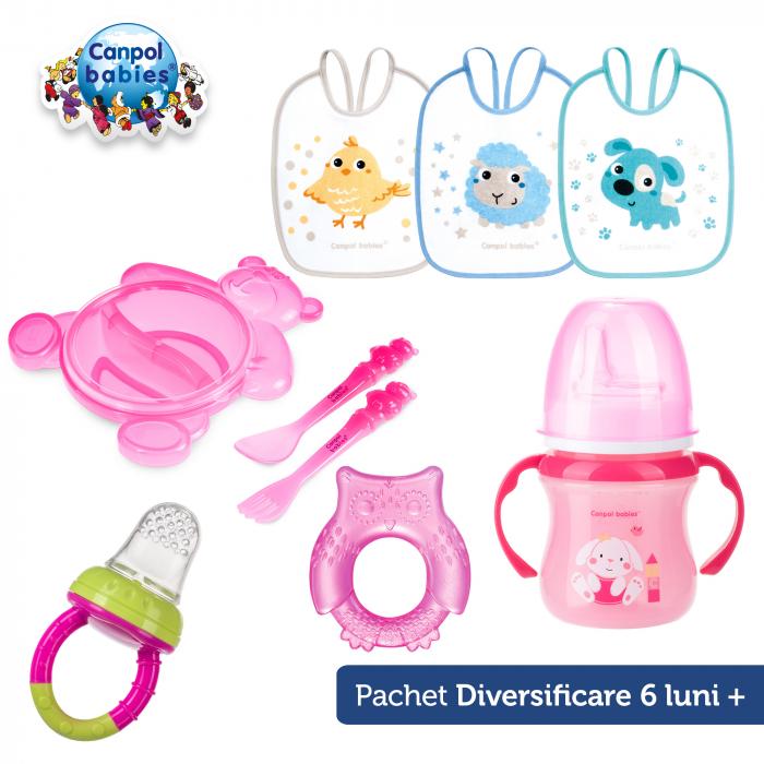 Set diversificare 6 luni, Canpol babies®, 5 produse, roz 0