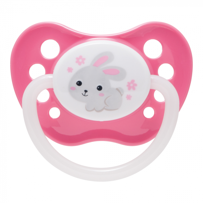 "Suzeta ""Bunny & Company"" cu inel fosforescent si tetina ortodontica silicon, Canpol babies®, fara BPA, 0-6 luni, roz 0"
