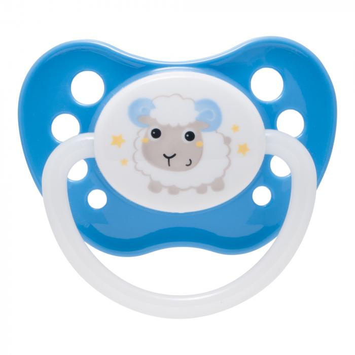 "Suzeta ""Bunny & Company"" cu inel fosforescent si tetina ortodontica silicon, Canpol babies®, fara BPA, 18 luni +, albastru 0"