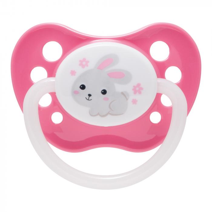 "Suzeta ""Bunny & Company"" cu inel fosforescent si tetina ortodontica silicon, Canpol babies®, fara BPA, 18 luni +, roz 0"