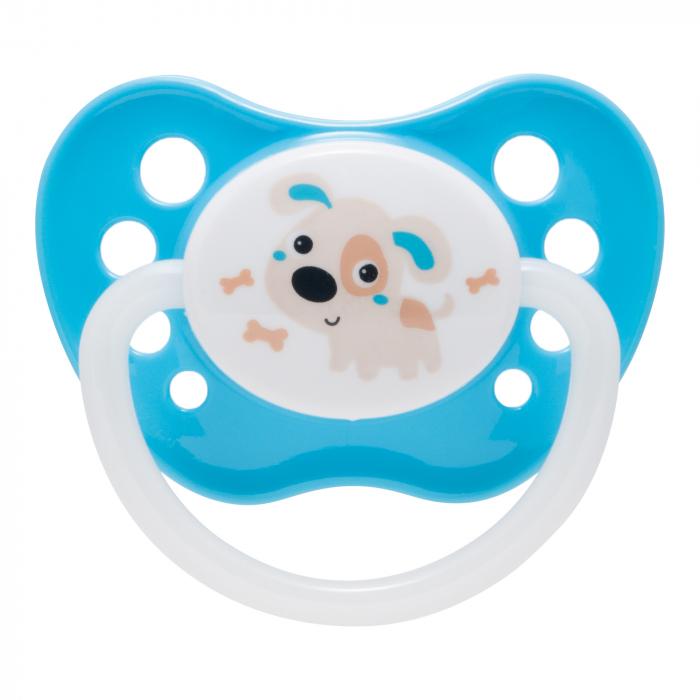 "Suzeta ""Bunny & Company"" cu inel fosforescent si tetina ortodontica silicon, Canpol babies®, fara BPA, 6-18 luni, turcoaz 0"