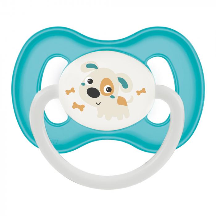 "Suzeta ""Bunny & Company"" cu inel fosforescent si tetina rotunda latex, Canpol babies®, fara BPA, 0-6 luni, turcoaz [0]"