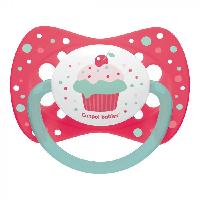 "Suzeta ""Cupcake"" cu tetina simetrica silicon, Canpol babies®, fara BPA, 6-18 luni, roz 0"