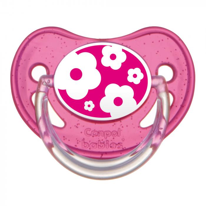 "Suzeta ""Nature"" cu tetina ortodontica silicon, Canpol babies®, fara BPA, 6-18 luni, roz [0]"