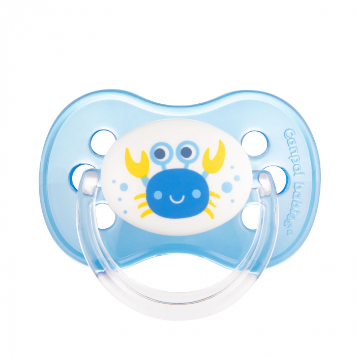 "Suzeta ""Nature"" cu tetina rotunda latex, Canpol babies®, fara BPA, 0-6 luni, albastru [0]"