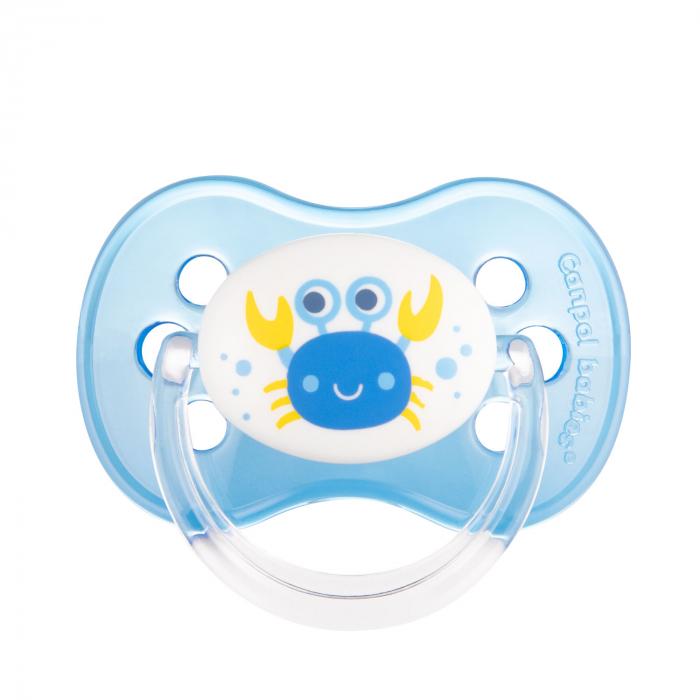 "Suzeta ""Nature"" cu tetina rotunda latex, Canpol babies®, fara BPA, 6-18 luni, albastru 0"
