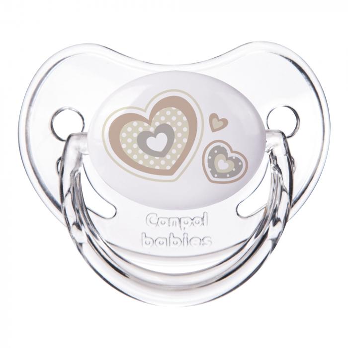 "Suzeta ""Newborn Baby"" cu tetina ortodontica silicon, Canpol babies®, fara BPA, 18 luni+, bej [0]"