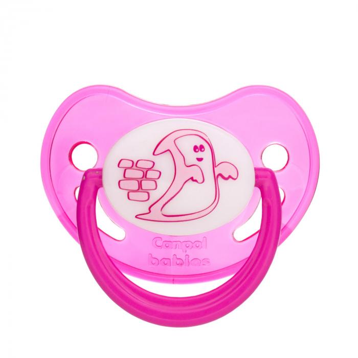 "Suzeta ""Night Dreams"" cu inel fosforescent si tetina ortodontica silicon, Canpol babies®, fara BPA, 0-6 luni, roz [0]"