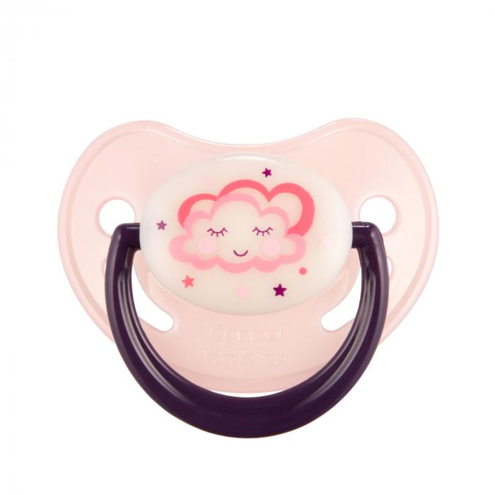 "Suzeta ""Night Dreams"" cu inel fosforescent si tetina ortodontica silicon, Canpol babies®, fara BPA, 18 luni +, roz [0]"