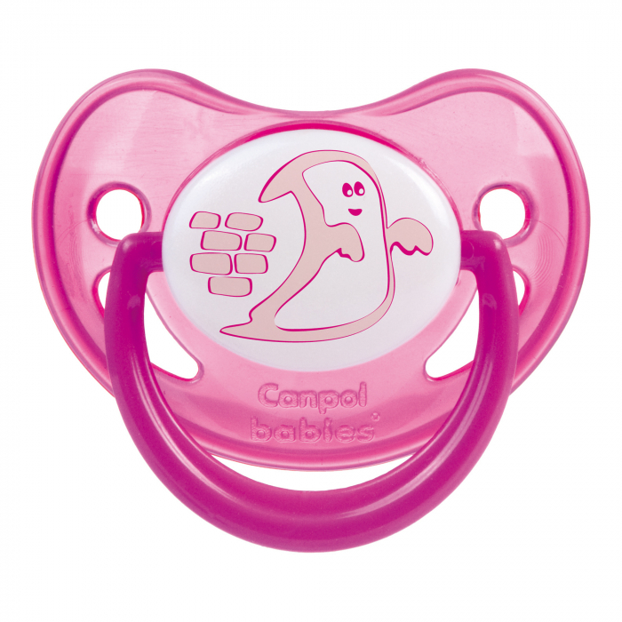 "Suzeta ""Night Dreams"" cu inel fosforescent si tetina ortodontica silicon, Canpol babies®, fara BPA, 6-18 luni, roz 0"