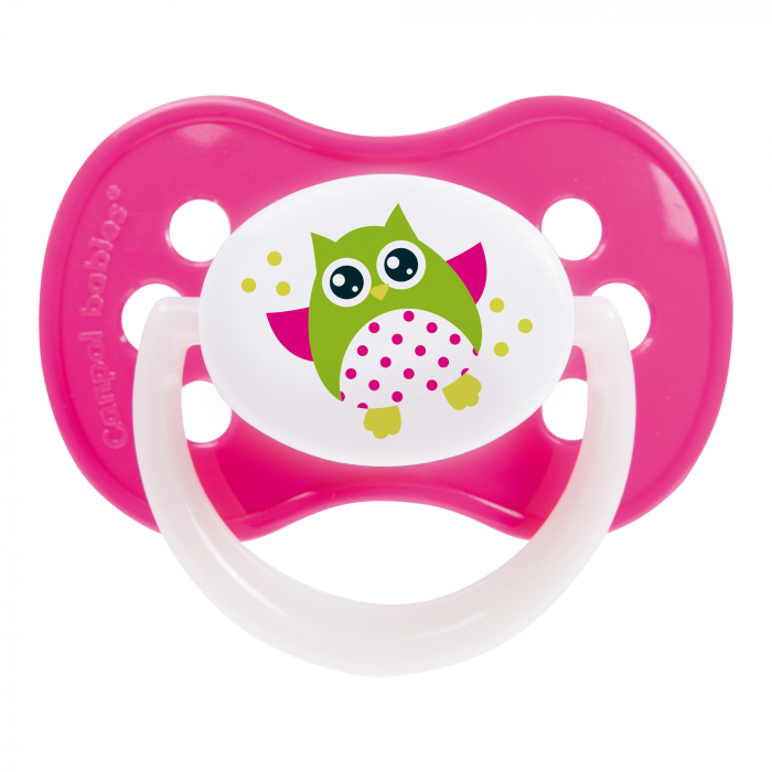 "Suzeta ""Owls"" cu inel fosforescent si tetina simetrica silicon, Canpol babies®, fara BPA, 18 luni +, roz 0"