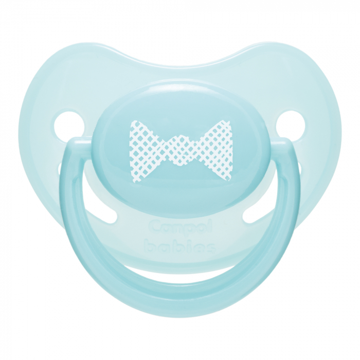 "Suzeta ""Pastelove"" cu tetina ortodontica silicon, Canpol babies®, fara BPA, 18 luni +, turcoaz 0"