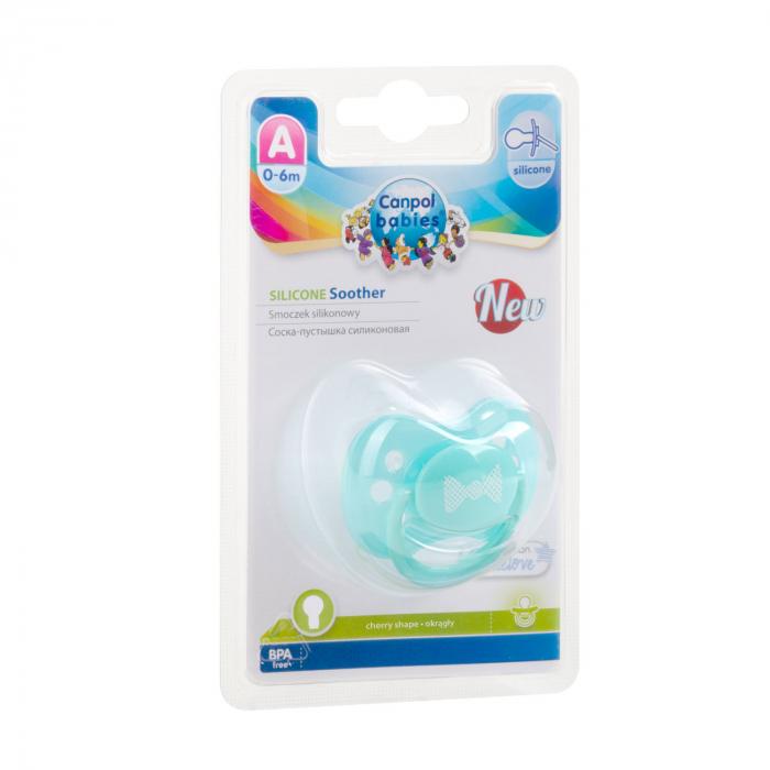 "Suzeta ""Pastelove"" cu tetina rotunda silicon, Canpol babies®, fara BPA, 0-6 luni, turcoaz [2]"