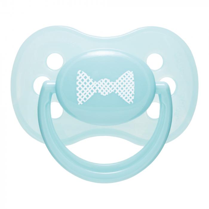 "Suzeta ""Pastelove"" cu tetina rotunda silicon, Canpol babies®, fara BPA, 18 luni +, turcoaz 0"