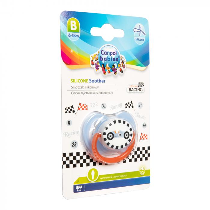 "Suzeta ""Racing"" cu tetina simetrica silicon, Canpol babies®, fara BPA, 6-18 luni, albastru 2"