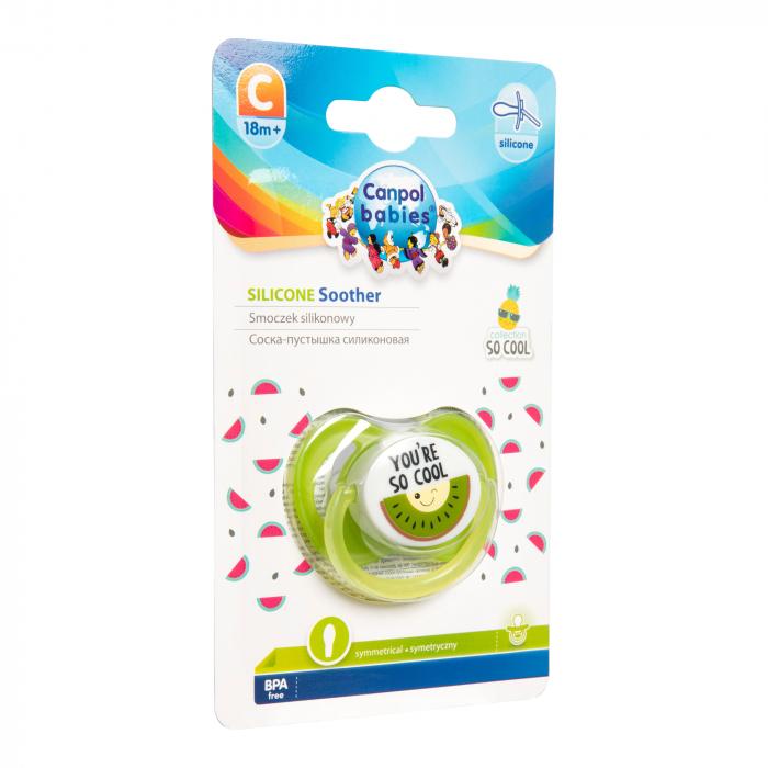 "Suzeta ""So Cool"" cu tetina simetrica silicon, Canpol babies®, fara BPA, 18 luni+, verde 0"