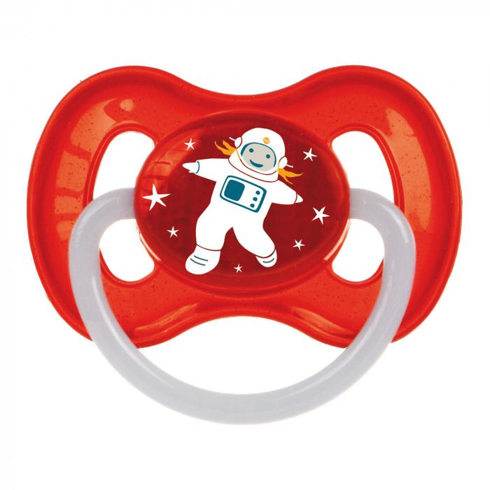 "Suzeta ""Space"" cu inel fosforescent si tetina rotunda latex, Canpol babies®, fara BPA, 0-6 luni, rosu 0"