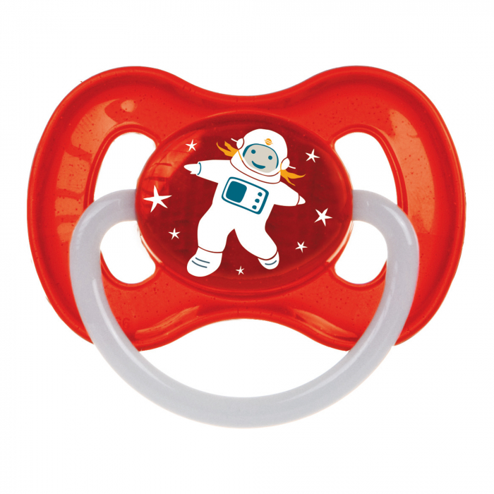 "Suzeta ""Space"" cu inel fosforescent si tetina rotunda latex, Canpol babies®, fara BPA, 6-18 luni, rosu 0"