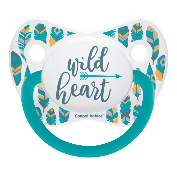 "Suzeta ""Wild Nature"" cu tetina ortodontica silicon, Canpol babies®, fara BPA, 6-18 luni, turcoaz 0"