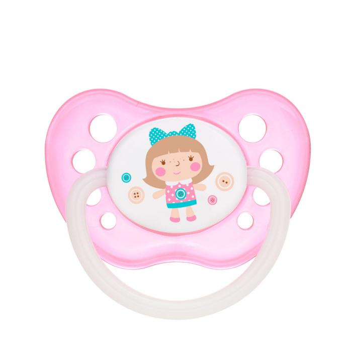 "Suzeta ""Toys"" cu inel fosforescent si tetina ortodontica latex, fara BPA, 18 luni + [0]"