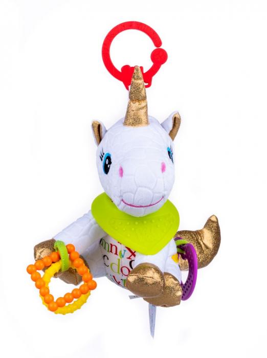 Unicorn Bella, Bali Bazoo, Jucarie din plus cu parti moi inele si fosnaitoare, multicolor 1