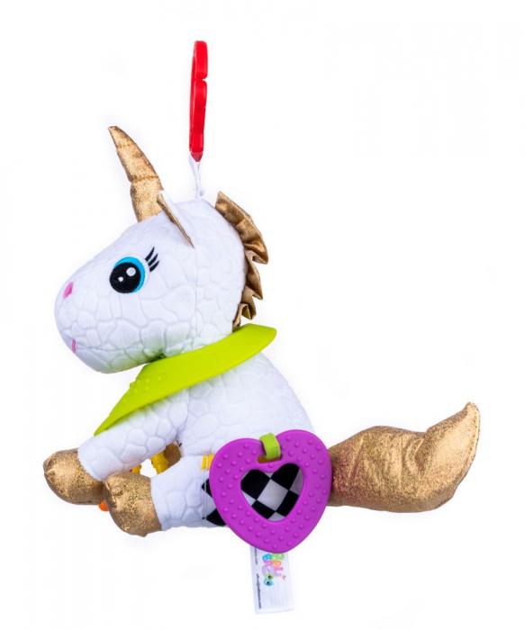 Unicorn Bella, Bali Bazoo, Jucarie din plus cu parti moi inele si fosnaitoare, multicolor 2