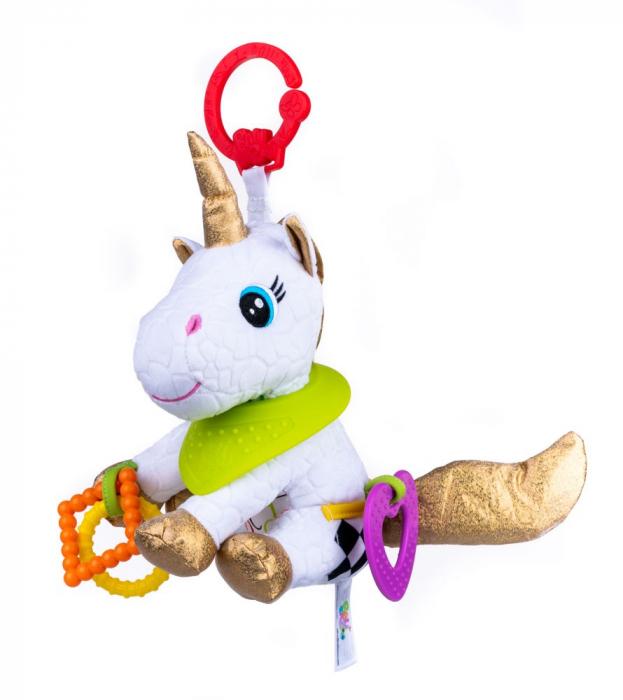 Unicorn Bella, Bali Bazoo, Jucarie din plus cu parti moi inele si fosnaitoare, multicolor 0