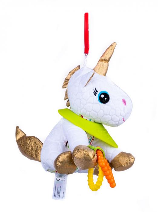 Unicorn Bella, Bali Bazoo, Jucarie din plus cu parti moi inele si fosnaitoare, multicolor 4