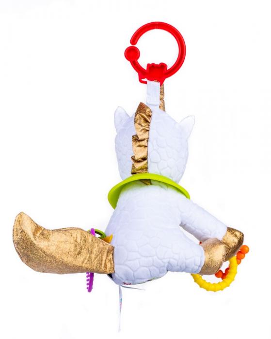 Unicorn Bella, Bali Bazoo, Jucarie din plus cu parti moi inele si fosnaitoare, multicolor 3
