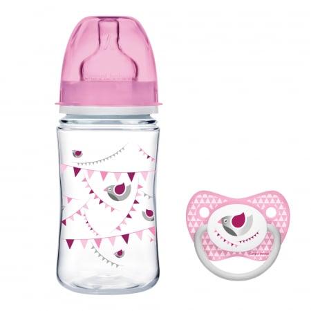 "Biberon anticolici gat larg, Canpol babies®, polipropilena, 240 ml, ""Let's Celebrate"", roz, CADOU suzeta0"