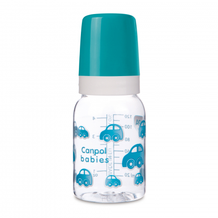 Biberon, Canpol babies®, Tritan, 120 ml, imprimat masinute albastre0