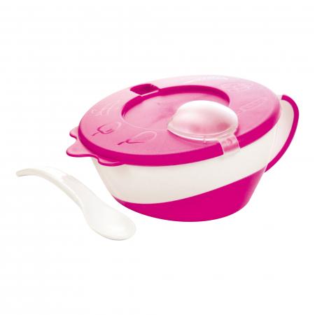 "Bol cu lingurita si capac ""Vacuta"", Canpol babies®, 350 ml, roz [1]"