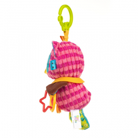 Bufnita Olivia, Bali Bazoo, jucarie din plus cu inele si chitaitoare, multicolora3