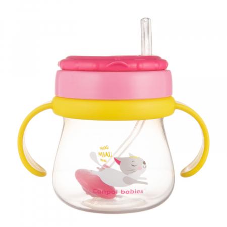 Cana sport cu pai si supapa mobila, Canpol babies®, 250 ml, fara BPA, roz3