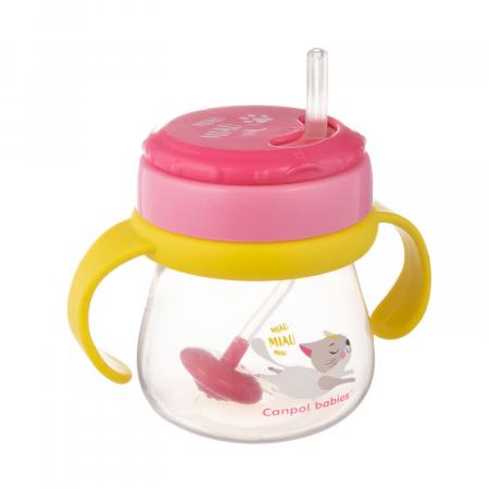 Cana sport cu pai si supapa mobila, Canpol babies®, 250 ml, fara BPA, roz0