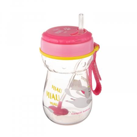 Cana sport cu pai si supapa mobila, Canpol babies®, 350 ml, fara BPA, roz0