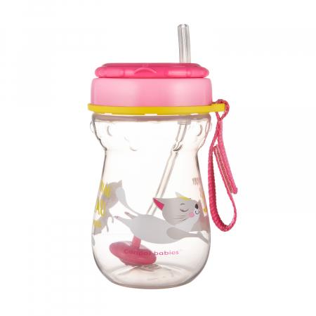 Cana sport cu pai si supapa mobila, Canpol babies®, 350 ml, fara BPA, roz4