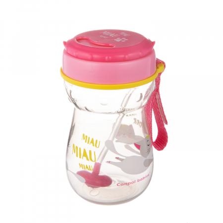 Cana sport cu pai si supapa mobila, Canpol babies®, 350 ml, fara BPA, roz1