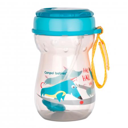 Cana sport cu pai si supapa mobila, Canpol babies®, 350 ml, fara BPA, turcoaz0