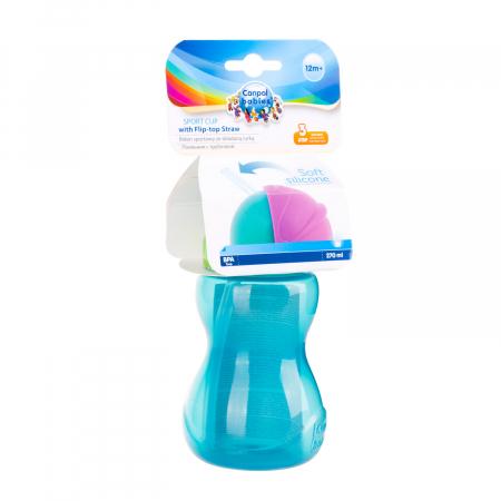 Canita sport cu pai retractabil, Canpol babies®, fara BPA, 270 ml, albastru [3]