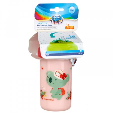 Canita sport cu pai retractabil, Canpol babies®, fara BPA, 400 ml, roz [1]
