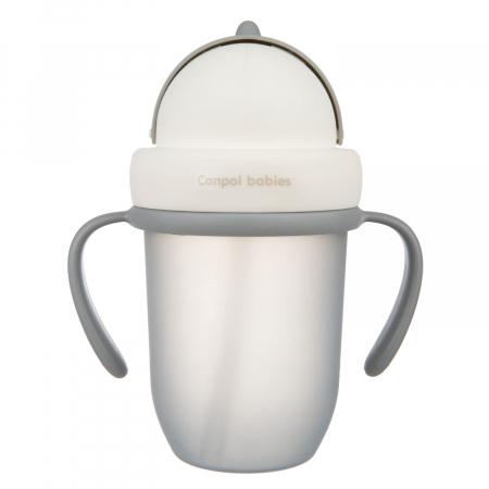 "Canita sport ""Matte Pastels"" cu pai retractabil, Canpol babies®, fara BPA, 210 ml, gri [1]"