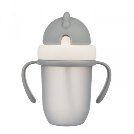"Canita sport ""Matte Pastels"" cu pai retractabil, Canpol babies®, fara BPA, 210 ml, gri [0]"