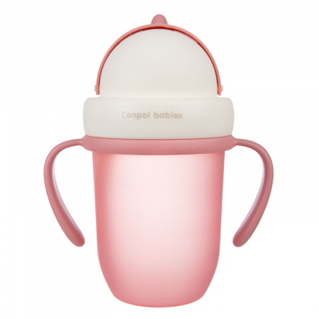 "Canita sport ""Matte Pastels"" cu pai retractabil, Canpol babies®, fara BPA, 210 ml, roz [1]"