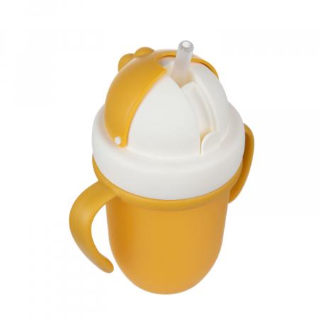 "Canita sport ""Matte Pastels"" cu pai retractabil, Canpol babies®, fara BPA, 210 ml, galben [5]"